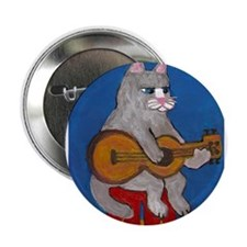 "Cat on Guitar 2.25"" Button"