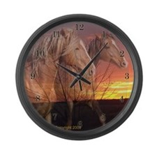 Horses in Sunrise Large Wall Clock