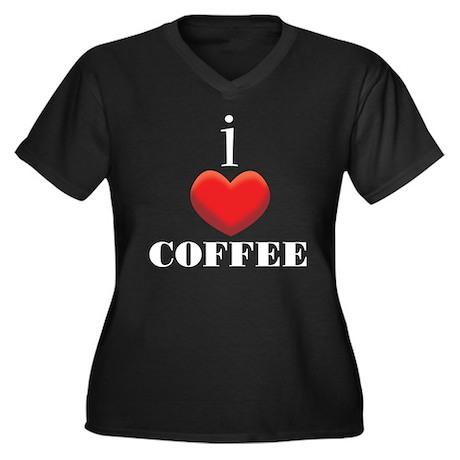 I Love Coffee Women's Plus Size V-Neck Dark T-Shir