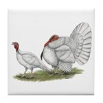 Turkeys: White Holland Tile Coaster