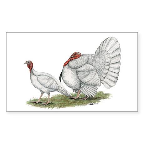 Turkeys: White Holland Sticker (Rectangle)