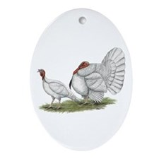 Turkeys: White Holland Ornament (Oval)