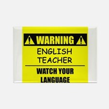 WARNING: English Teacher Rectangle Magnet