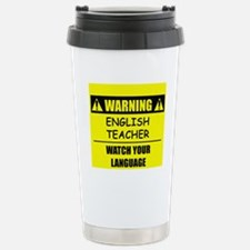 WARNING: English Teacher Stainless Steel Travel Mu