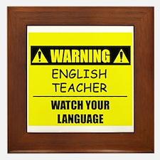 WARNING: English Teacher Framed Tile