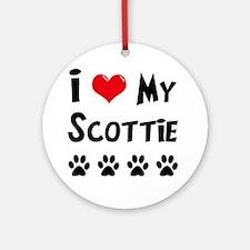 I Love My Scottie Ornament (Round)