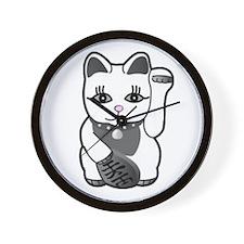 Lucky Cat w/Pink Nose Wall Clock