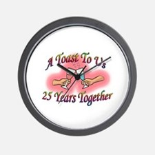 Cute 25th anniversary Wall Clock