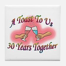 Unique 30th wedding anniversary Tile Coaster