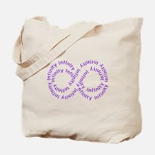Purple Text Infinity Tote Bag
