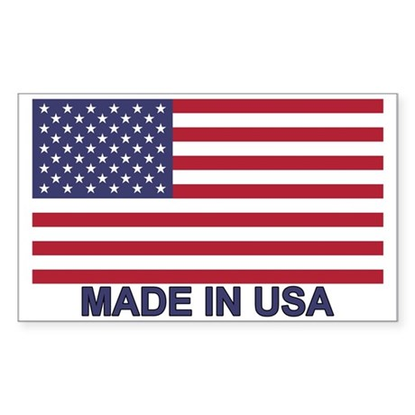 MADE IN USA (w/flag) Sticker (Rectangle 10 pk)