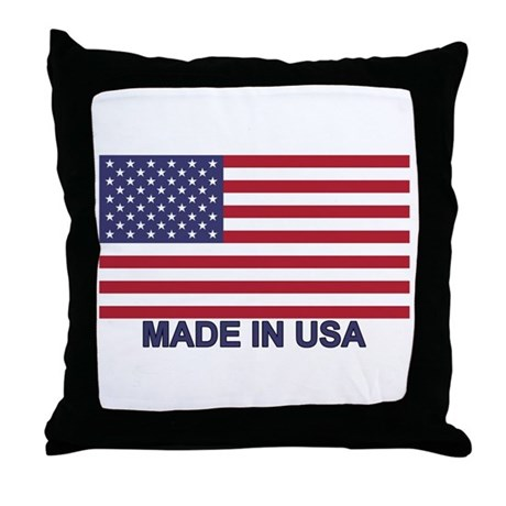 Throw Pillow Made In Usa : MADE IN USA (w/flag) Throw Pillow by intlcarstickers