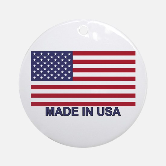 MADE IN USA (w/flag) Ornament (Round)