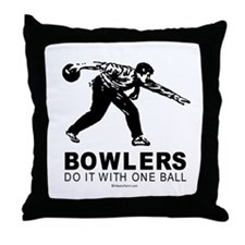 Bowlers do it with one ball -  Throw Pillow