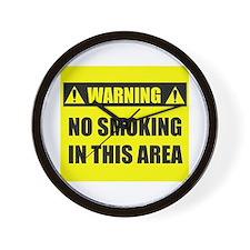 WARNING: No Smoking Wall Clock