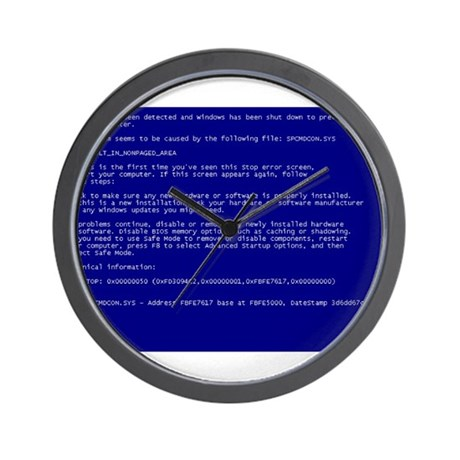 "Windows ""Blue Screen of Death"" Wall Clock by MS_BSOD"