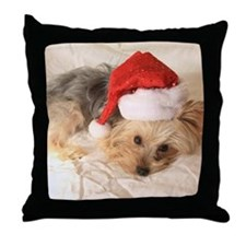 Santa Yorkie - Throw Pillow
