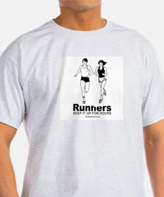 Runners keep it up for hours -  Ash Grey T-Shirt