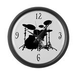 Drum Set Silhouette Music Wall Clock Gift