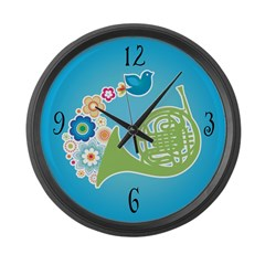 Peace Flowers French Horn Music Wall Clock