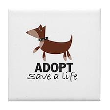 Cute Save a life adopt Tile Coaster