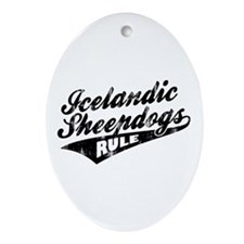 Icelandic Sheepdogs Rule Ornament (Oval)