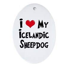 I Love My Icelandic Sheepdog Ornament (Oval)