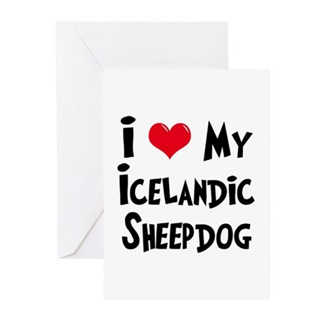 I Love My Icelandic Sheepdog Greeting Cards (Pk of