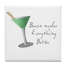 Funny Bacon Martini Tile Coaster