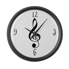 Treble Clef Music Gift Large Wall Clock