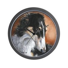 Borzoi by Dawn Secord Wall Clock
