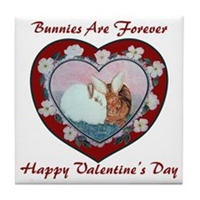 Valentine Rabbits Tile Coaster