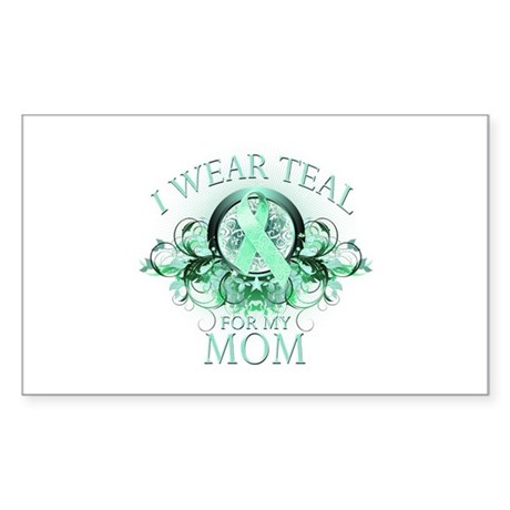 I Wear Teal for my Mom Sticker (Rectangle)