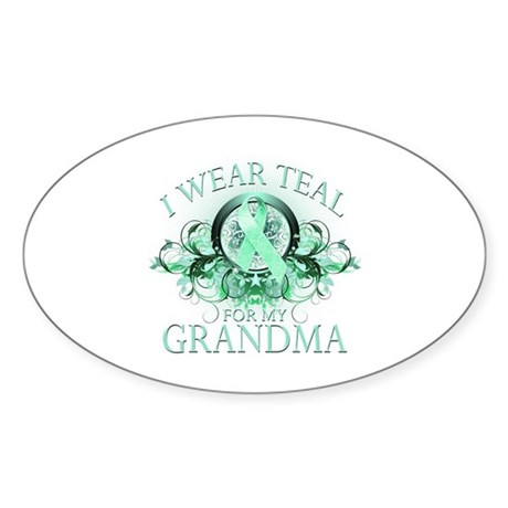 I Wear Teal for my Grandma Sticker (Oval)