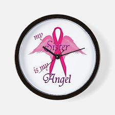 Cute Sister breast cancer Wall Clock