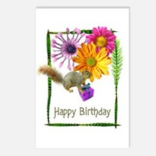 Squirrel Flowers Birthday Postcards (Package of 8)