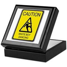 caution white boy dancing Keepsake Box