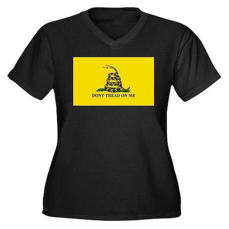 Gadsden Flag Women's Plus Size V-Neck Dark T-Shirt