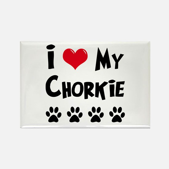 I Love My Chorkie Rectangle Magnet