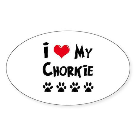 I Love My Chorkie Sticker (Oval)