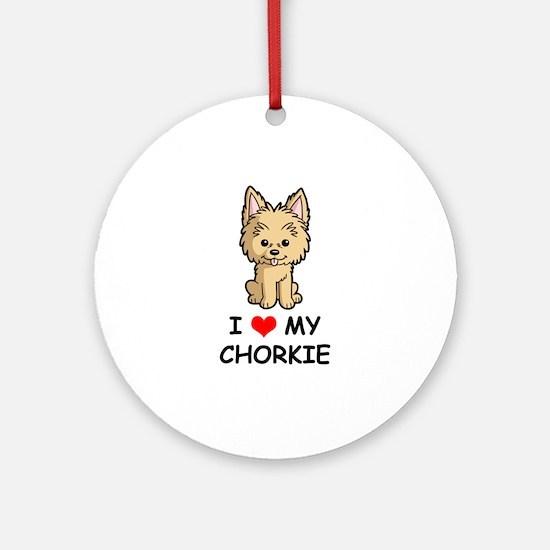 I Love My Chorkie Ornament (Round)