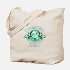 I Wear Teal for my Aunt (floral) Tote Bag