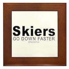 Skiers go down faster - Framed Tile