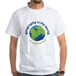 'Geography is my World' White T-Shirt