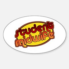 Student Midwife (bright) Oval Decal