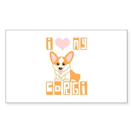 I Love My Corgi Sticker (Rectangle)