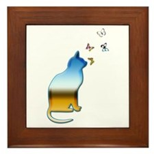 Schroedinger's Rainbow Cat Framed Tile