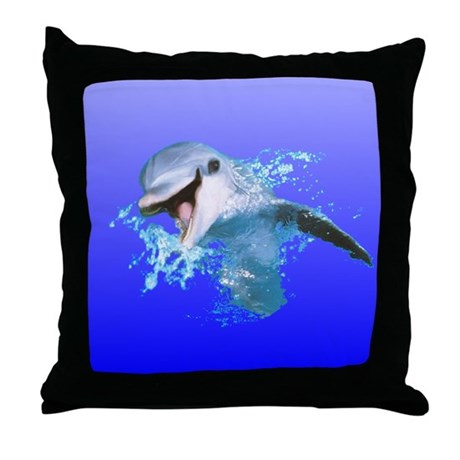 Dolphin Smiling Throw Pillow