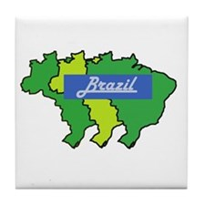 Brazil map in style Tile Coaster