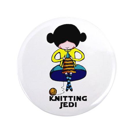 """Knitting Jedi 3.5"""" Button"""